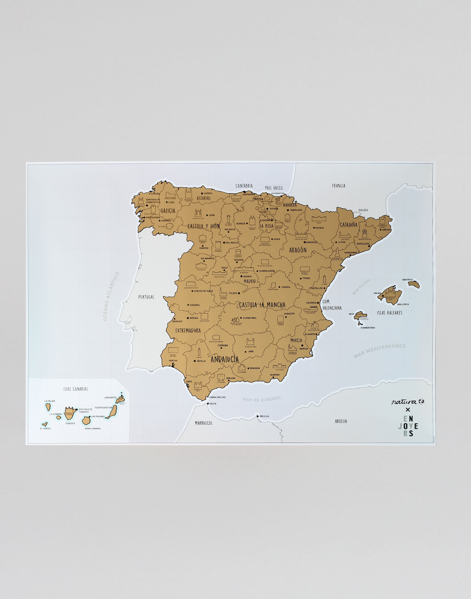 Spanish monuments scratch map