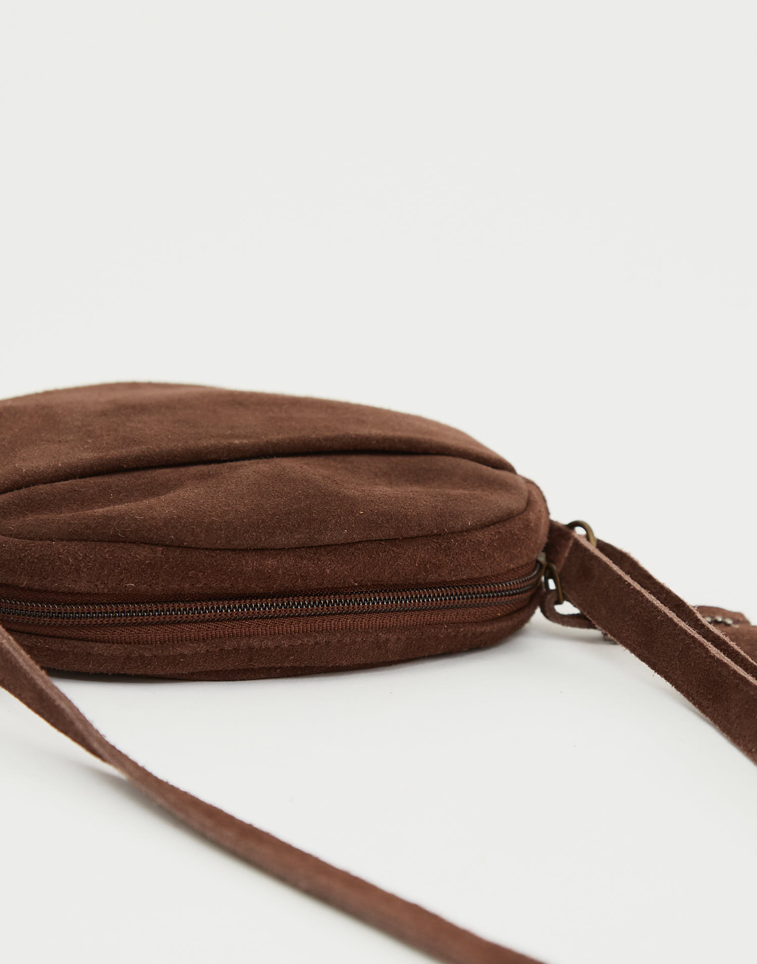 Round leather crossbody bag