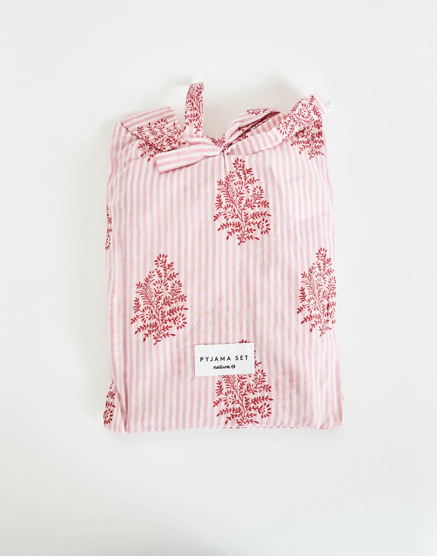 Cotton pijama print set with bag