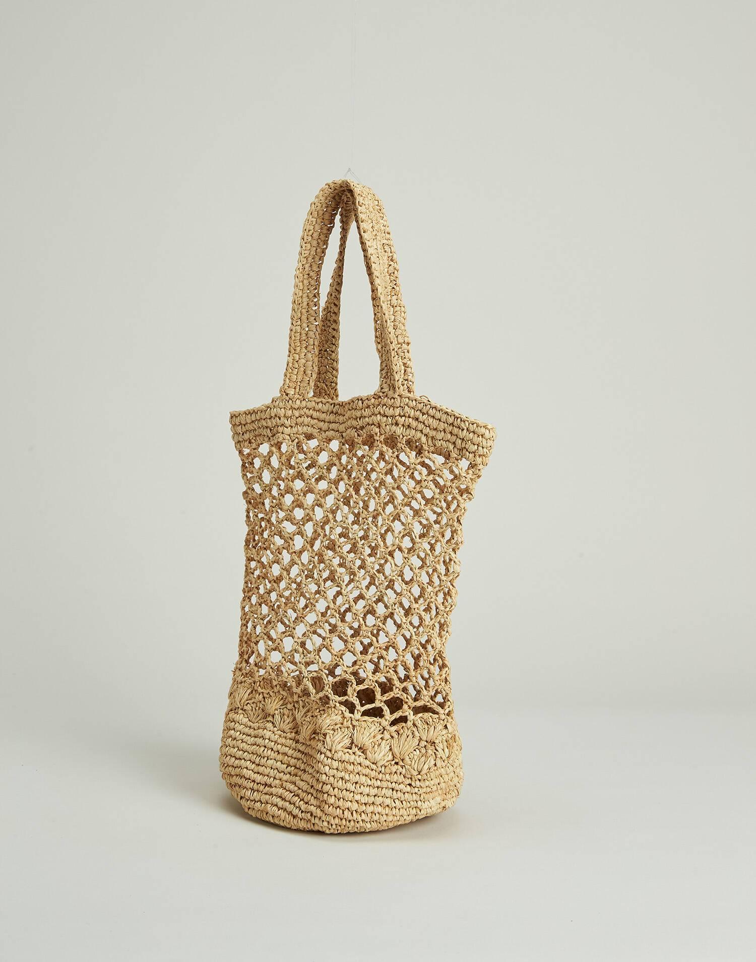 Openwork raffia bag