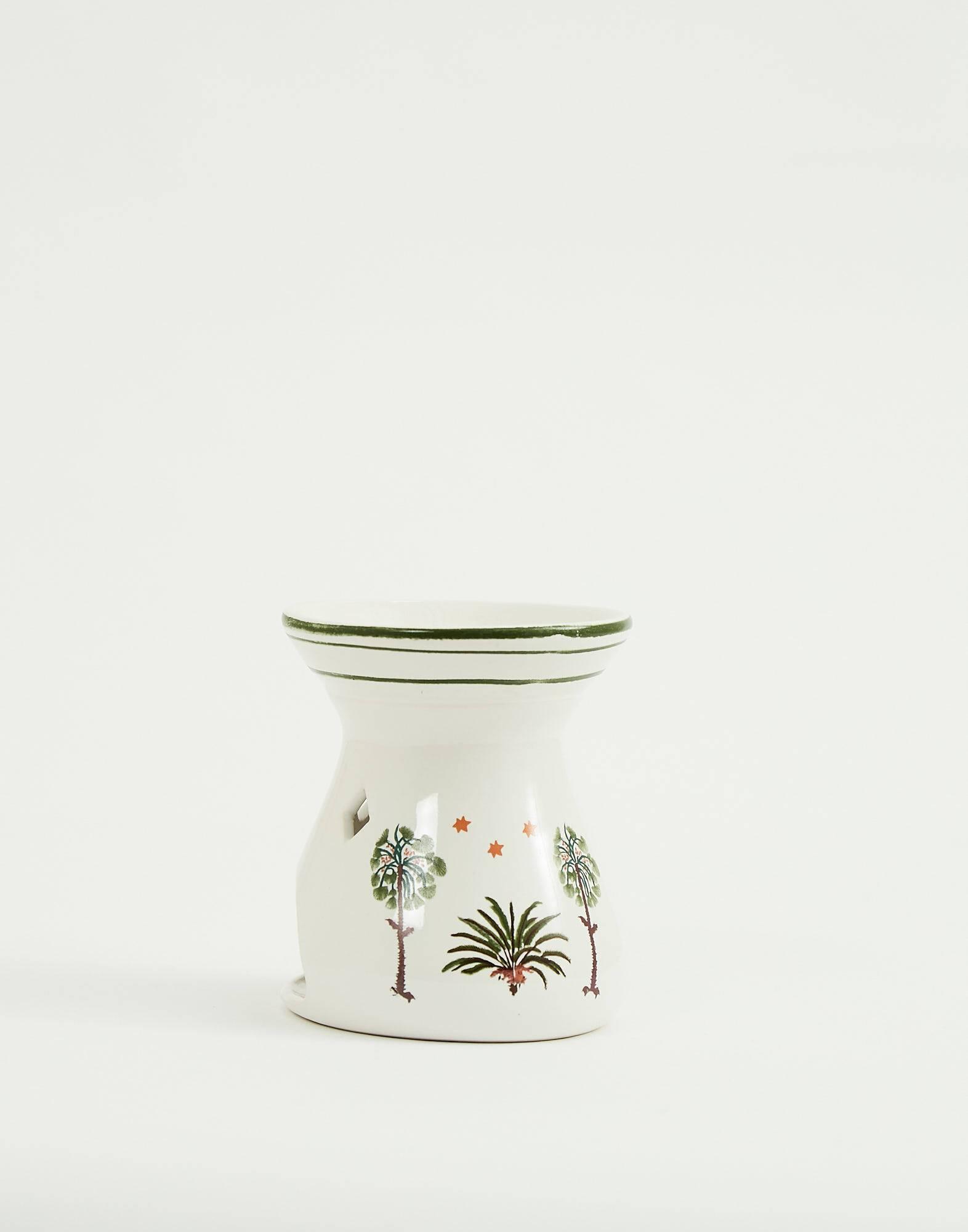 Brûle-parfum blanc palmiers