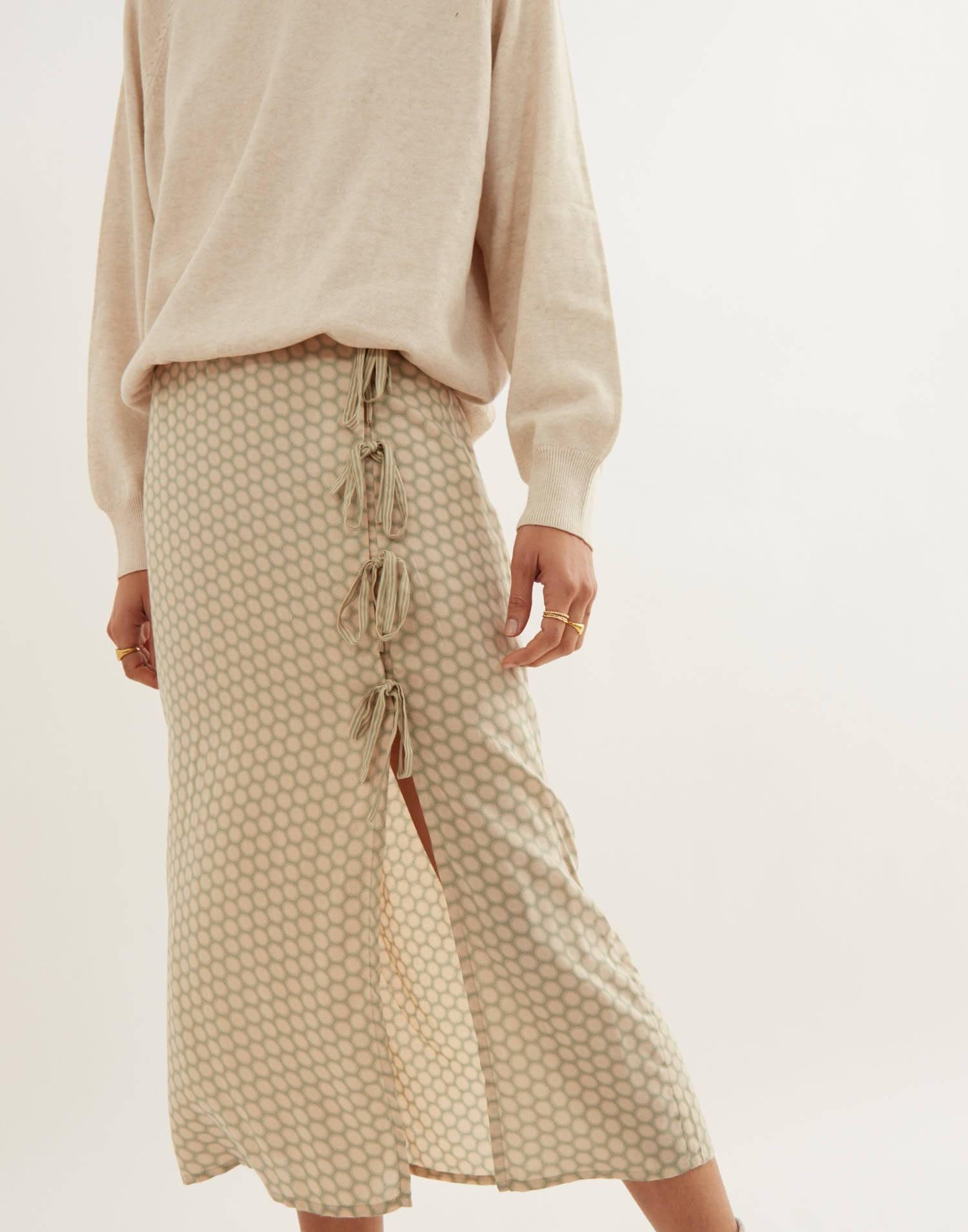 Multi ties midi skirt