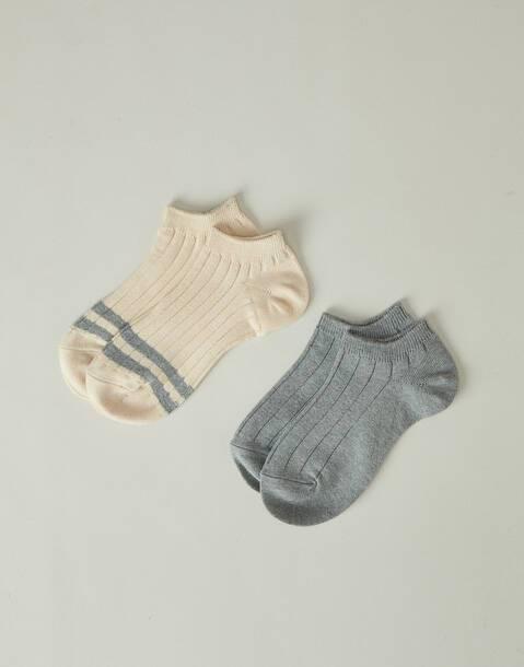 Set 2 calcetines cortos rayas y liso