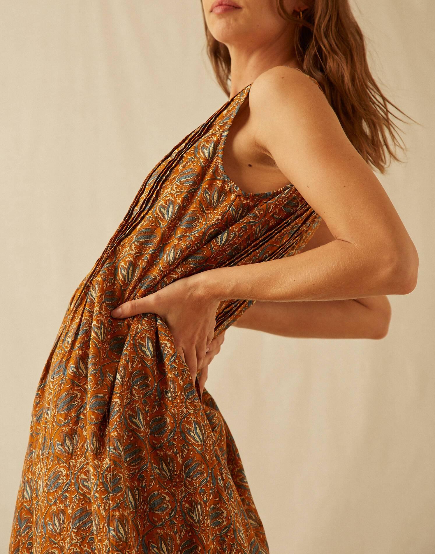 Vestido midi indio algodón