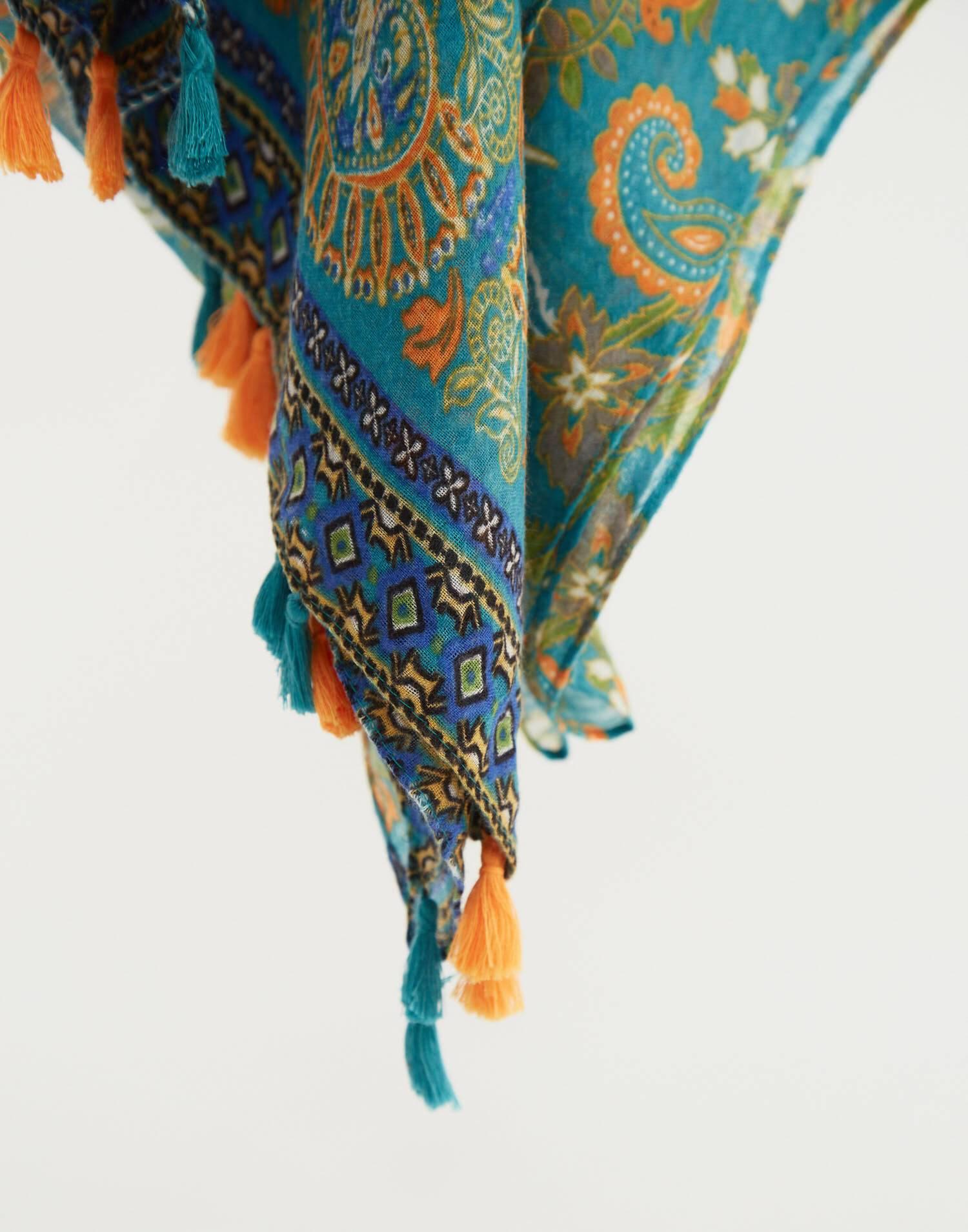 Floral pompom scarf