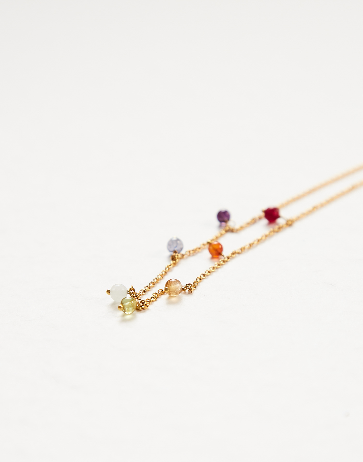 Gold plated chakras necklace