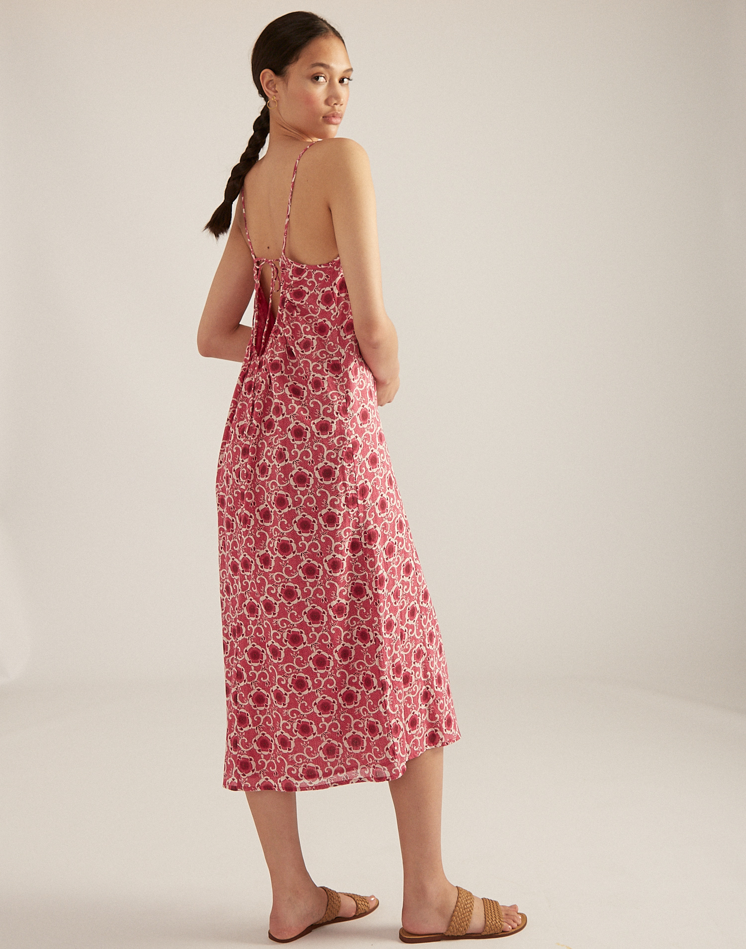 Open back floral slip dress