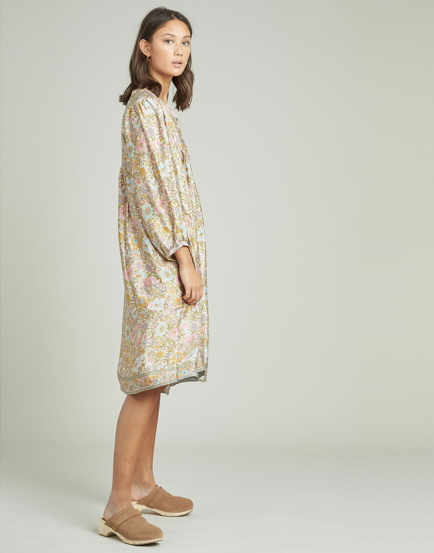 Long yoke silk dress
