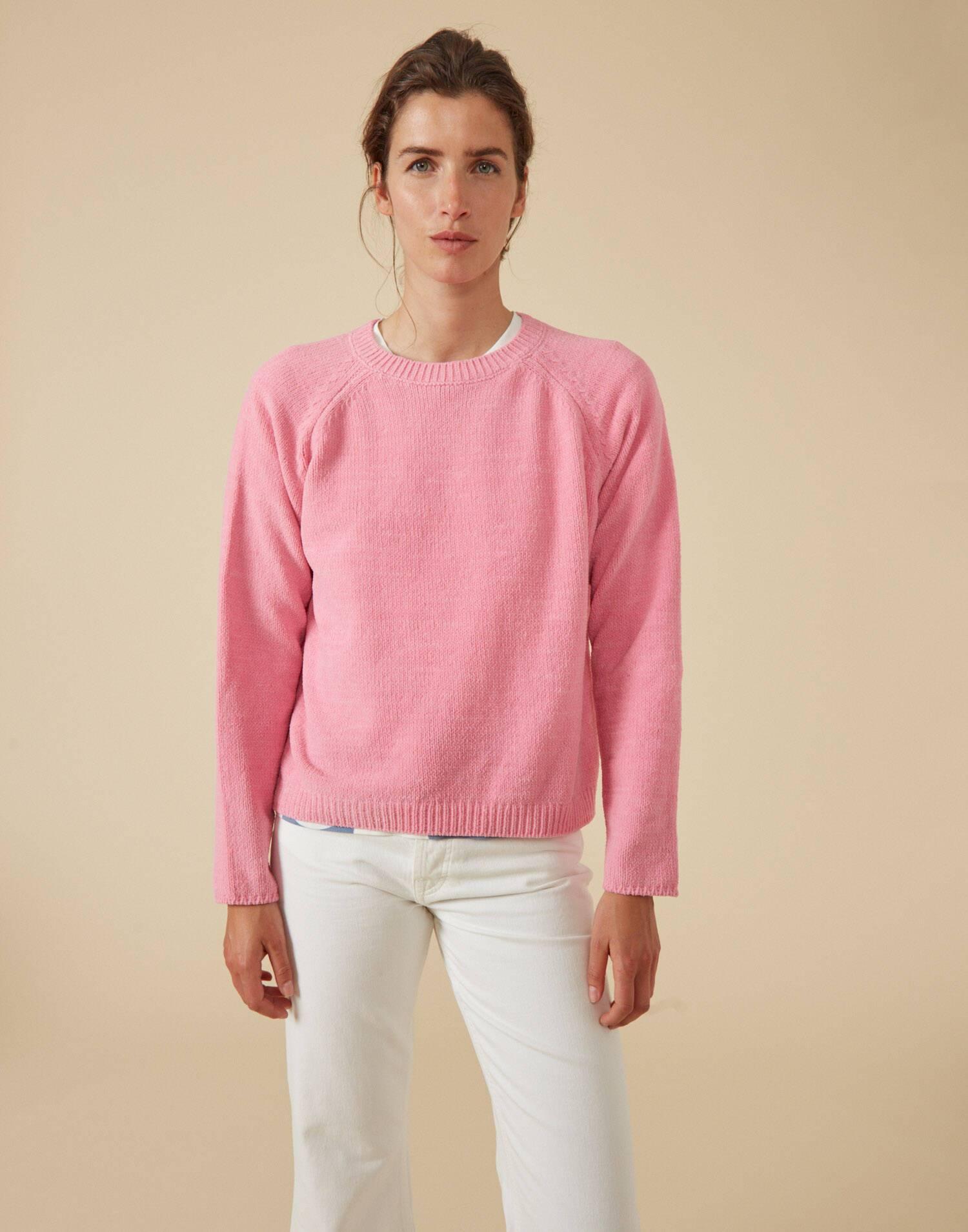 Rundhals raglan-pullover aus chenille