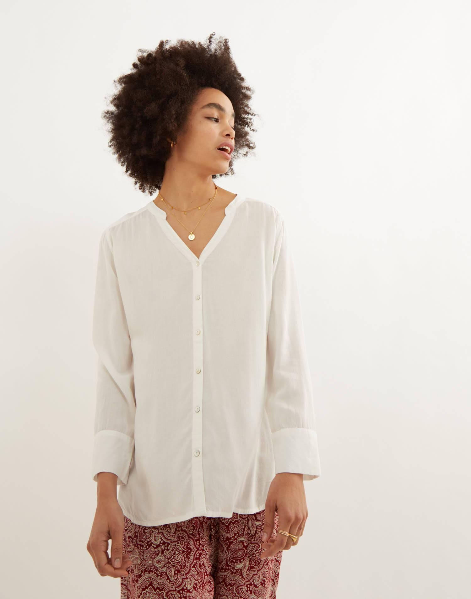 Button-front blouse