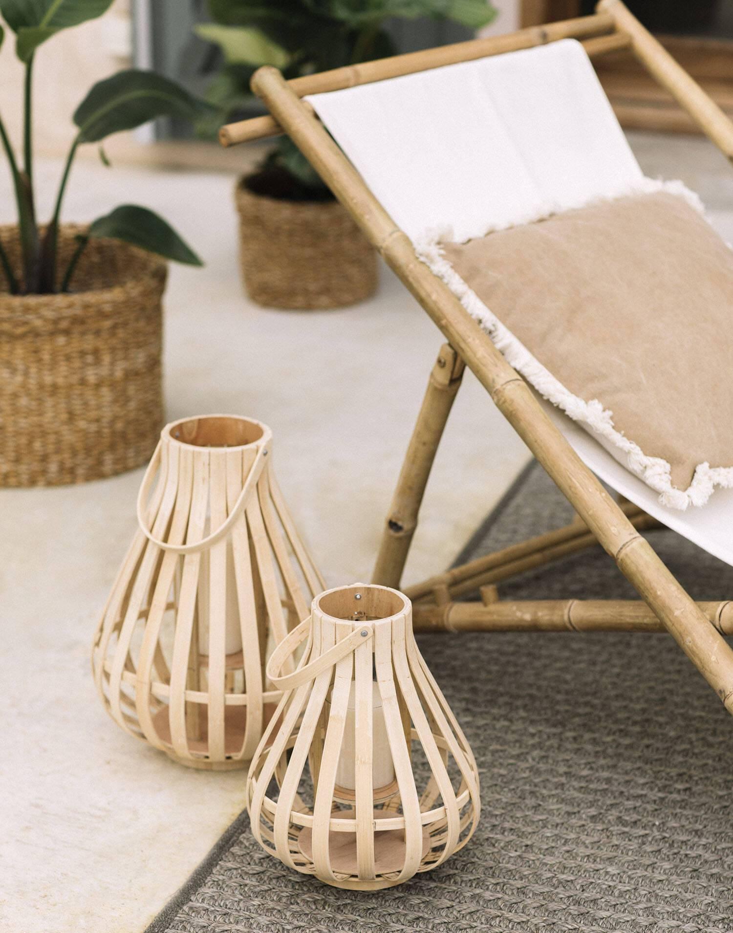 Farol portavelas bambú 30x40 cm
