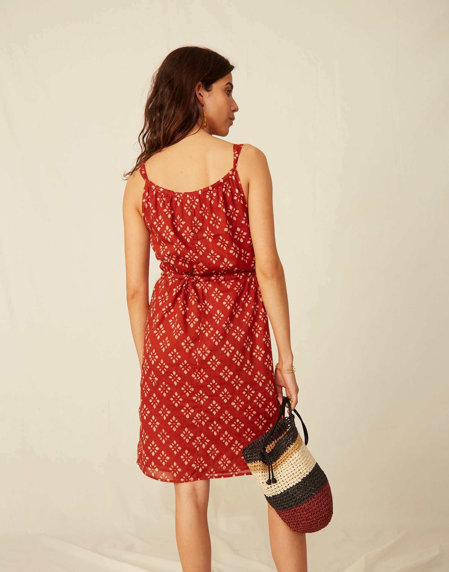 Tie front stamp dress