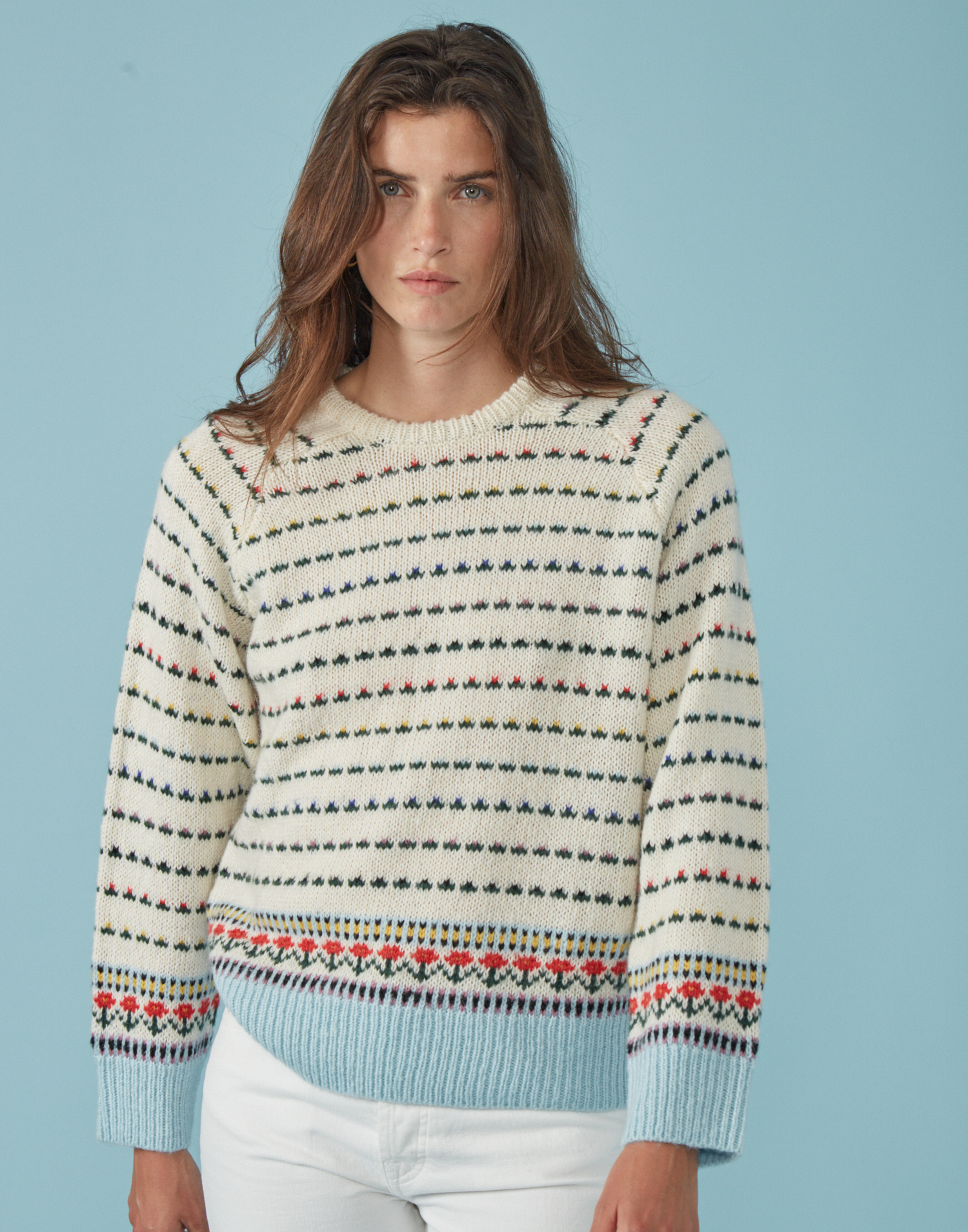 Floral jacquard knit sweater