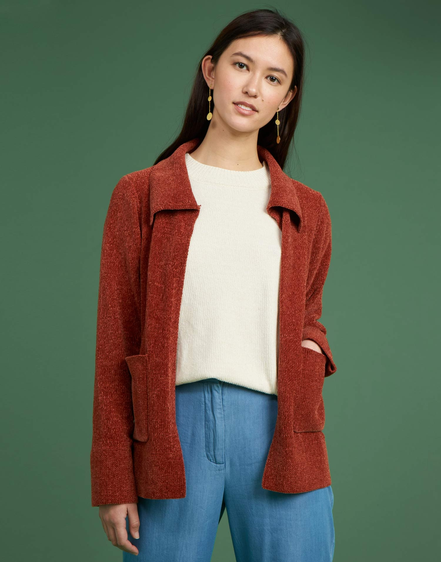 chenille cardigan with pockets