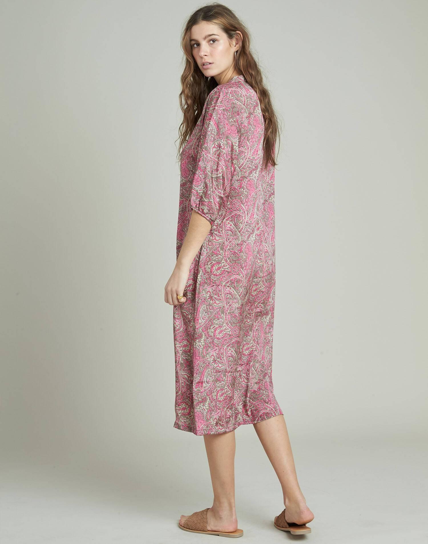 Buttoned silk long tunic