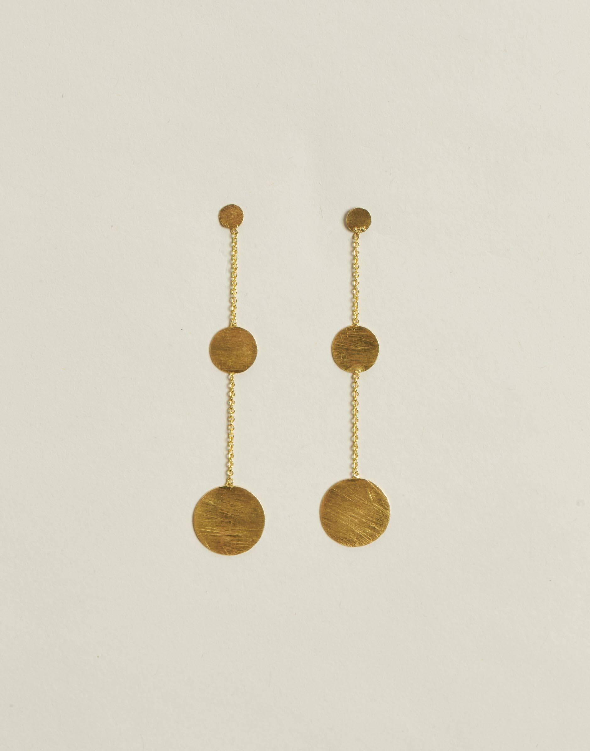 Pendientes largos medallas baño de oro