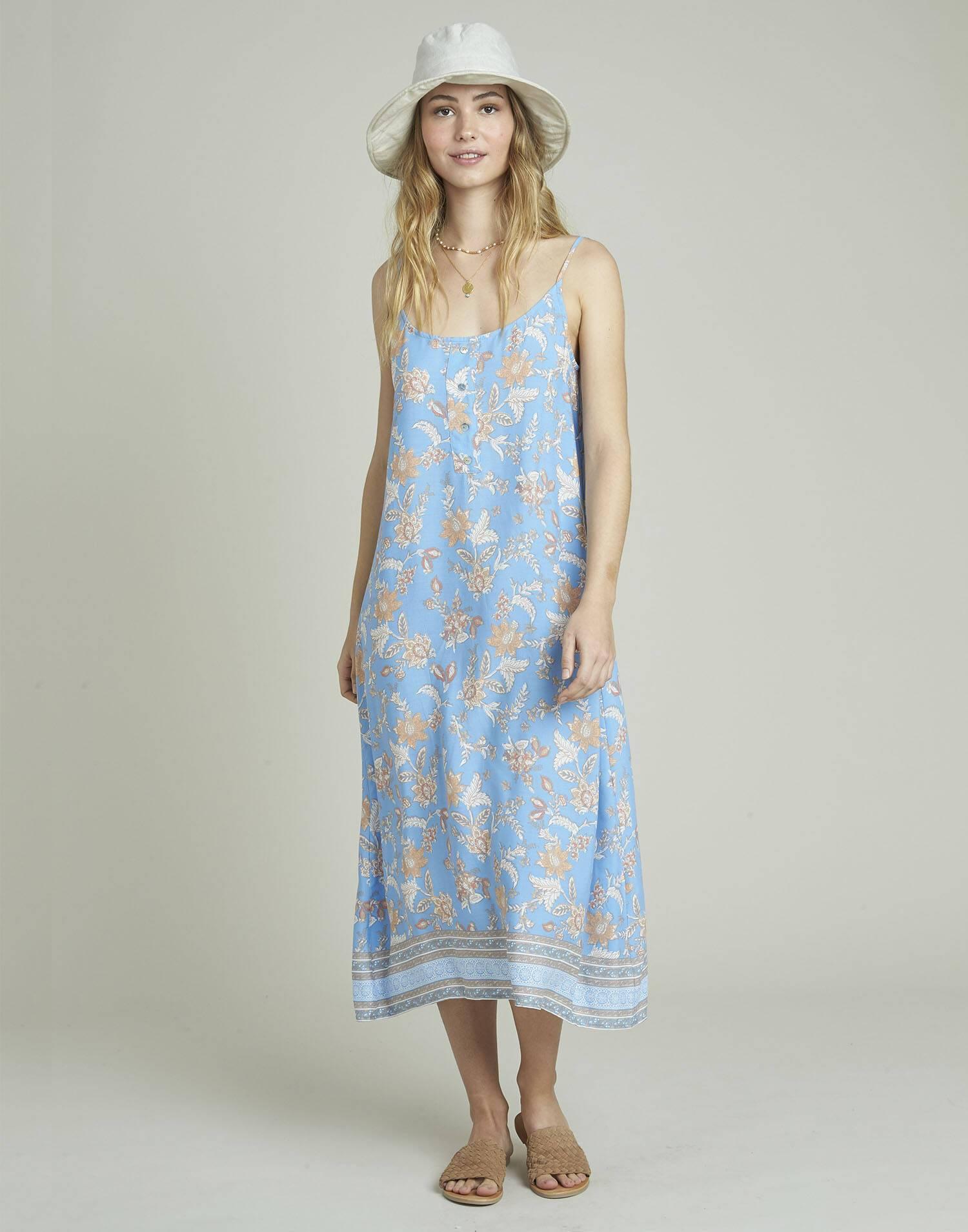 Vestido largo tirantes print posicional