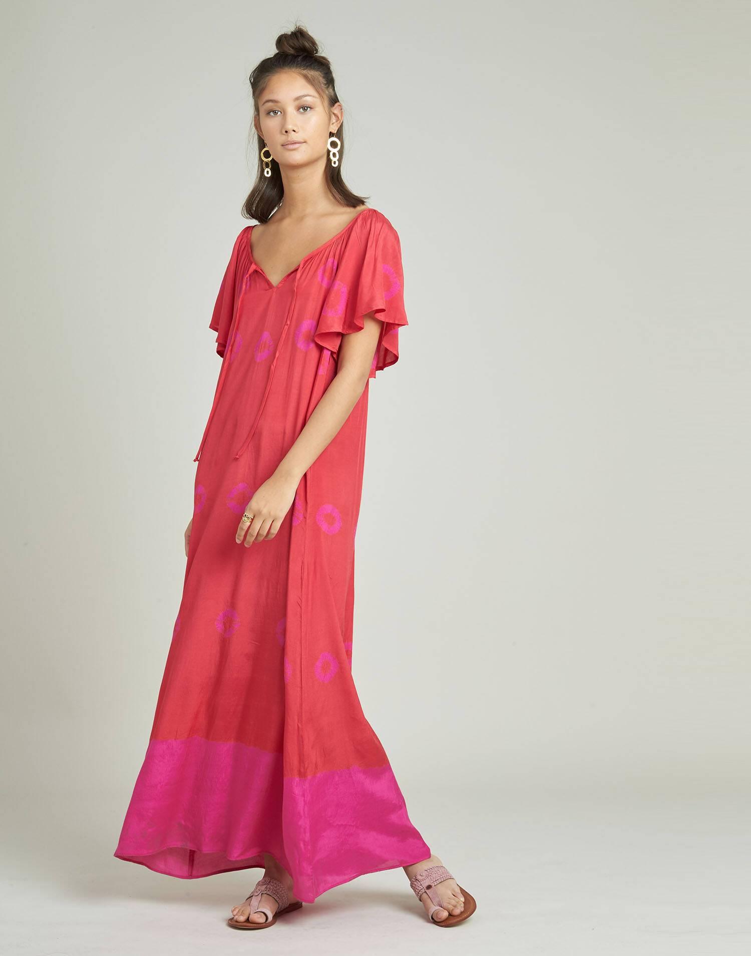 Vestido túnica bandhani degradado