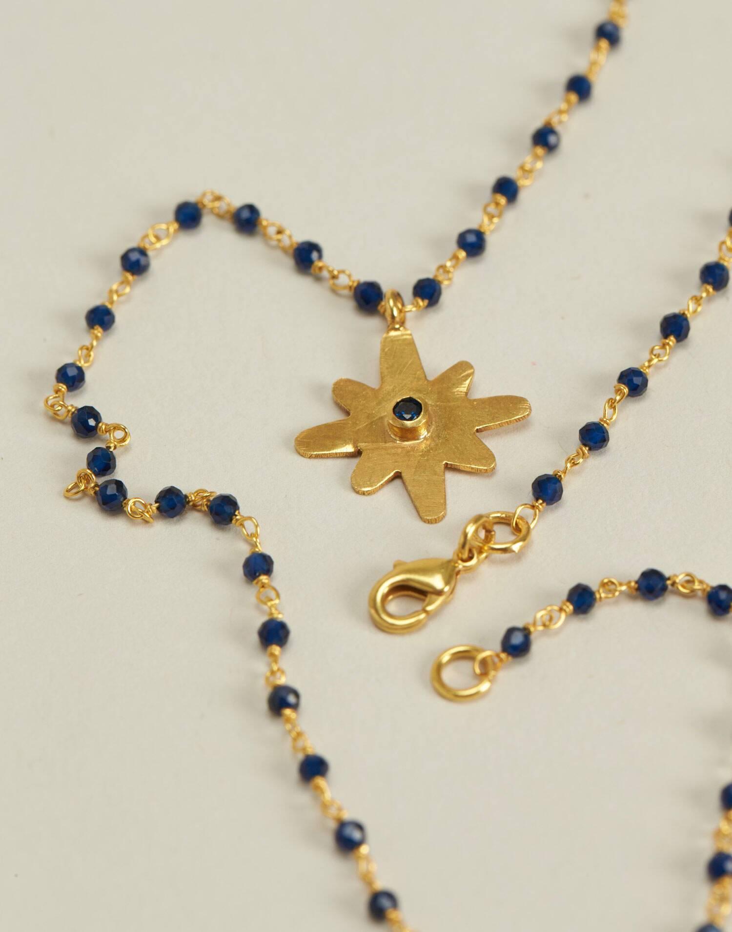 Collar medalla estrella baño de oro