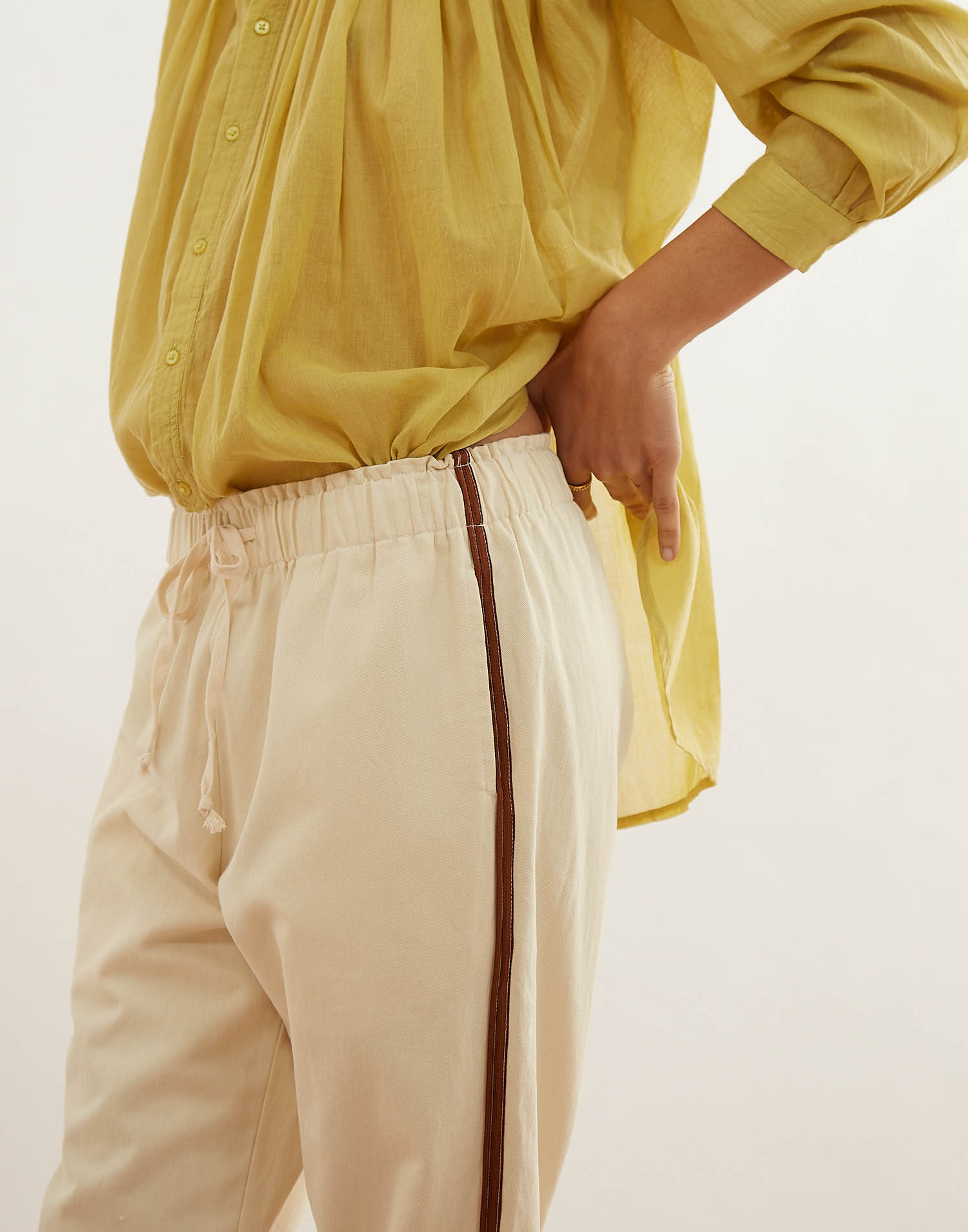 cotton pant with side piping
