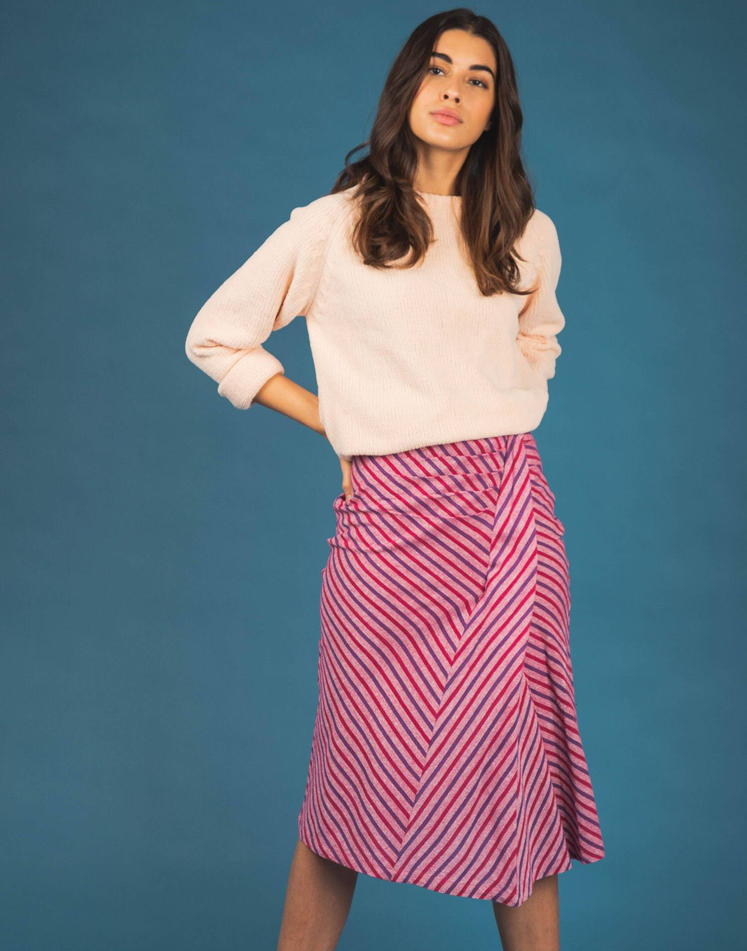 YARN DYED MIDI SKIRT